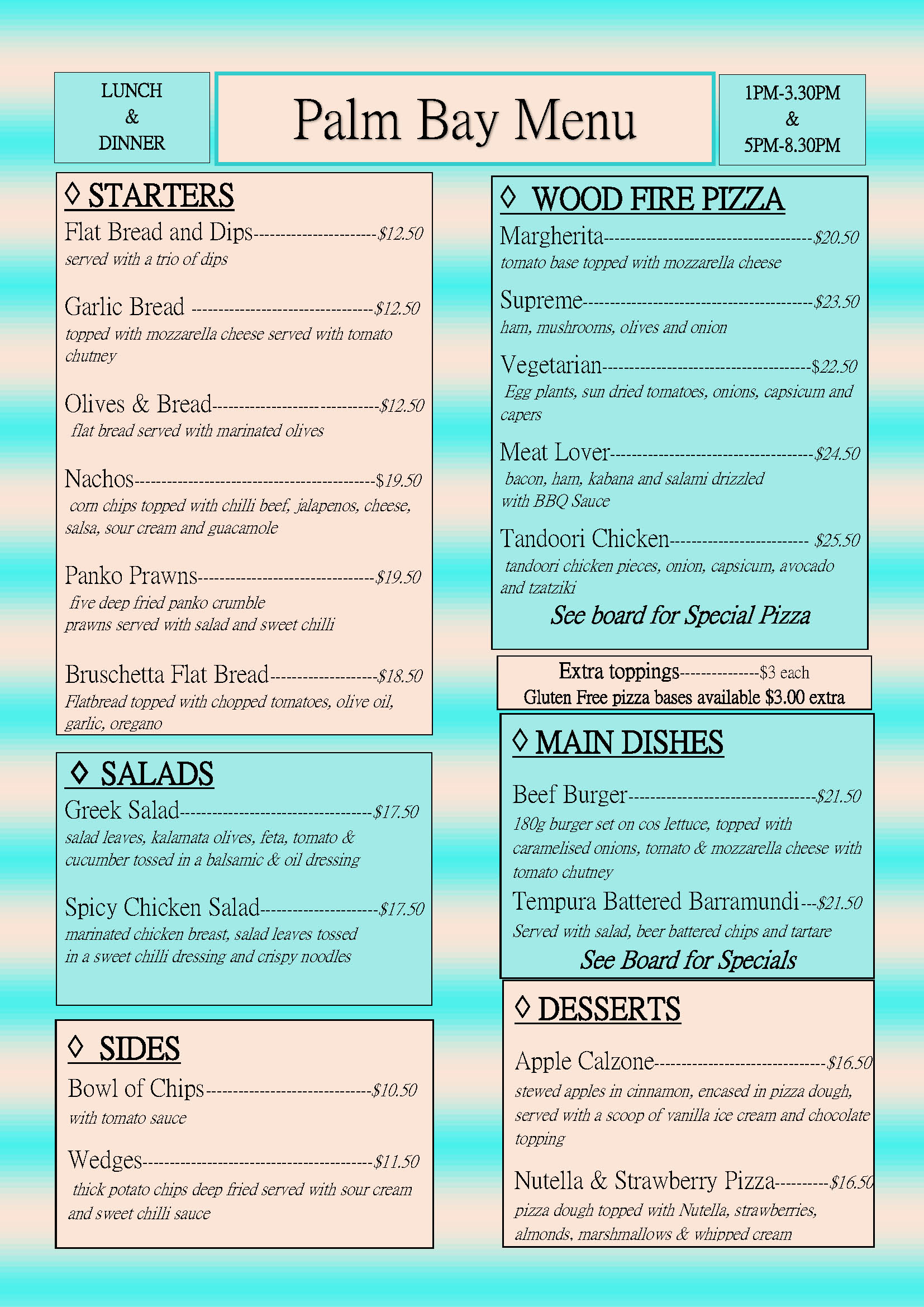 Pizza Menu 28.7.19